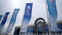 File Photo of St. Petersburg Economy Forum Outdoor Banners and Building Facade