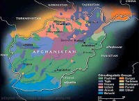Afghan Map with Ethnic Groups