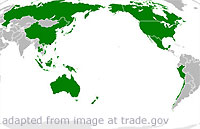Map of Asia-Pacific Highlighting APEC Member States