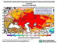Eurasia Map Showing Temperature Ranges