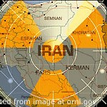 Map of Iran with Stylized Radar Sweep and Radiation Symbol Background Image