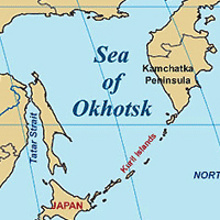 Map of Northern Japan, Kurill Islands, Sea of Okhotsk, Portions of Russian Far East