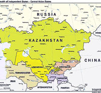 Map of Central Asia, Including Commonwealth of Independent States Members