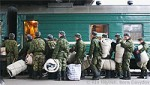 File Photo of Russian Military Conscripts Boarding Train with Gear