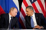 File Photo of Vladimir Putin Leaning Towards Barack Hussein Obama With Flags Behind Them