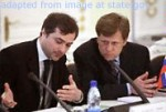 File Photo of Vladislav Surkov with Mike McFaul