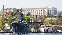 Russian Naval Vessel in Ukrainian Port