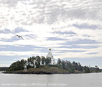 Valaam file photo showing Monastery church on wooded island