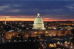 U.S. Capitol at Twilight With Washington Monument, National Mall, Washington, D.C., Environs and Sunset in Background