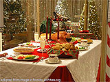 File Photo of Typical American Christmas Dinner Table
