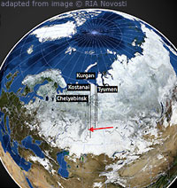 Stylized Satellite View of Globe Highlighting Russian Impact Location for Meteor