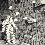Artist's Rendition of Pile of Papers Shaped Like Human, Wall of File Cabinets, Flying Pieces of Paper