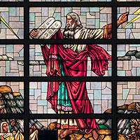 File Photo of Stained Glass Window Depicting Moses Holding the Tablets of the Ten Commandments
