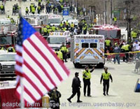 File Photo of Boston Bombings Aftermath with Ambulance and Security Personnel