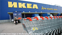 File Photo of Ikea Store with Russian Language Facade and Shopping Carts