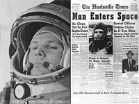 File Photo of Yuri Gagarin and U.S. Newspaper About Gagarin Space Flight