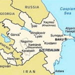 Map of Azerbaijan and South Caucasus Environs Including Portions of Armenia, Georgia, Russia, Iran, Caspian Sea