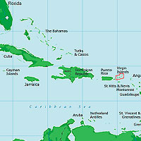 Map of Caribbean Sea and Environs, Including Virgin Islands Highlighted by Red Box