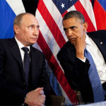 File Photo of Vladimir Putin and Barack Obama Seated Before Russian and U.S. Flags