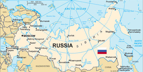 Map of Russia and Russian Flag adapted from images at state.gov