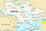 Map of Ukraine and Ukrainian Flag