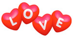 Cartoon Hearts Spelling L O V E