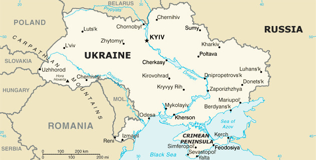 Map of Ukraine, Including Crimea, and Neighbors, Including Russia