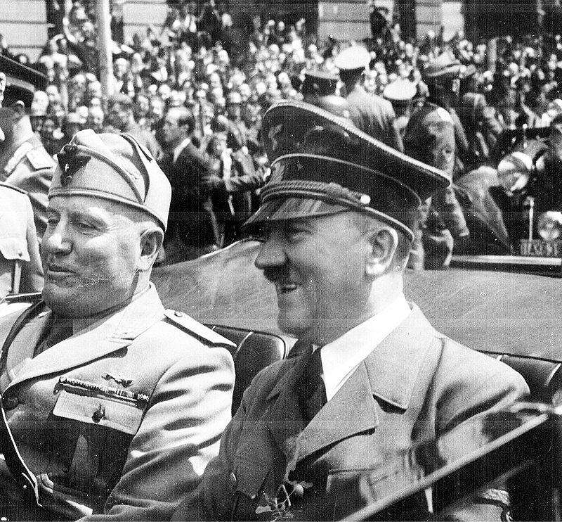 File Photo of Benito Mussolini and Adolf Hitler Riding in Convertible