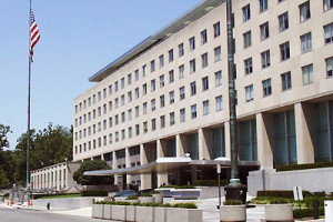 State Department Building and U.S. Flag