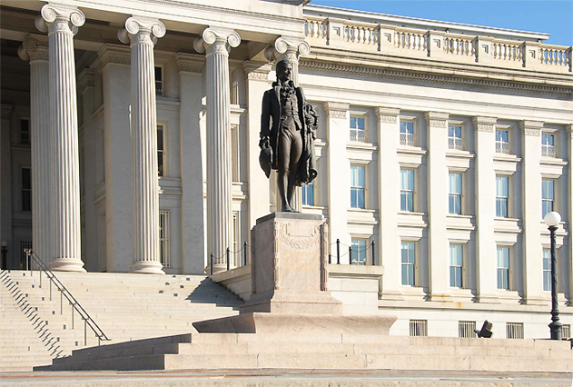 Portion of U.S. Treasury Department Building Facade, North Side, with Sculpture of Alexander Hamilton