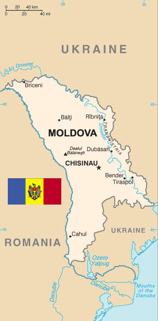 Moldova Map and Flag