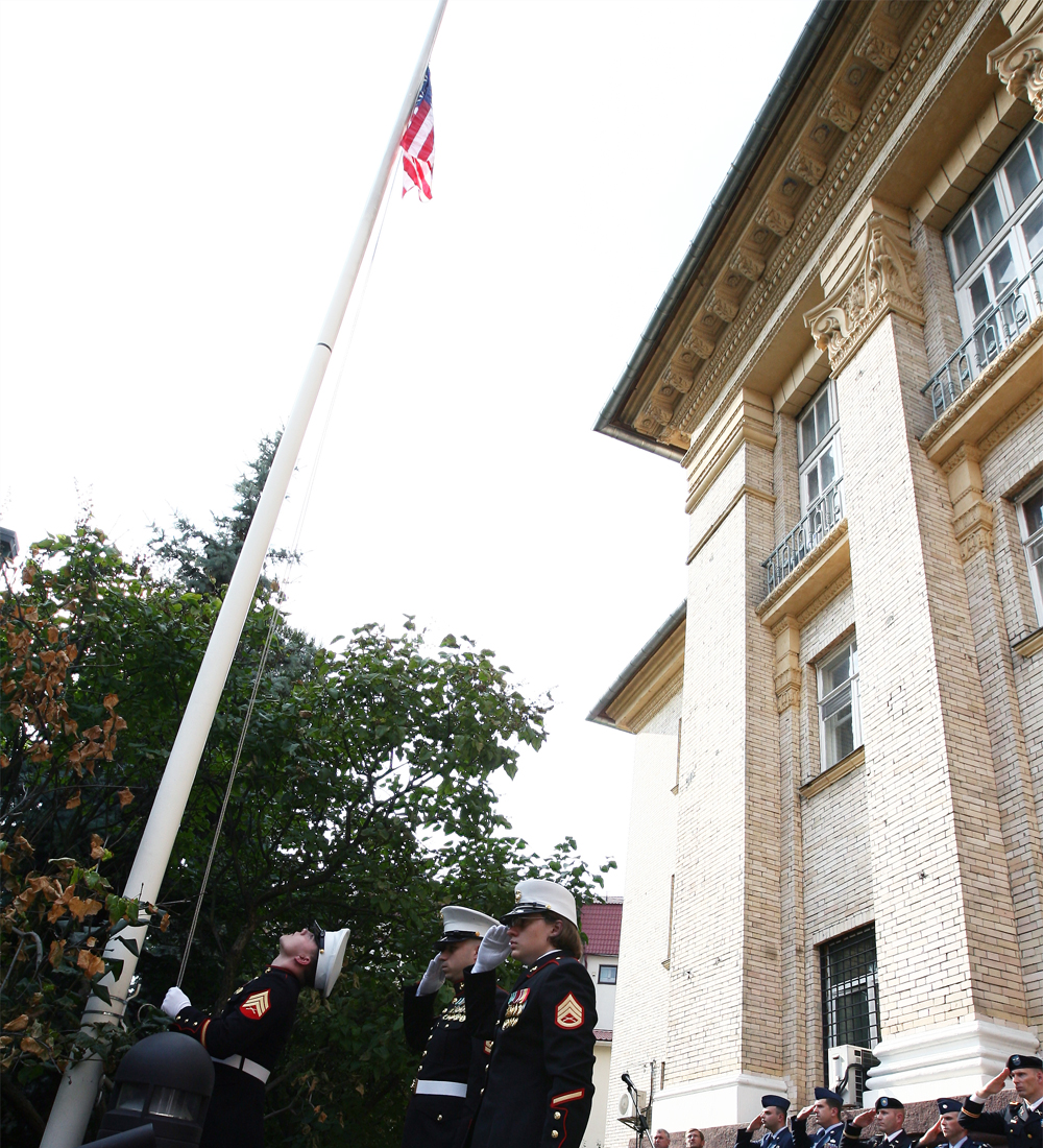 File Photo of U.S. Embassy in Kiev, Ukraine, with U.S. Flag on Pole and U.S. Military