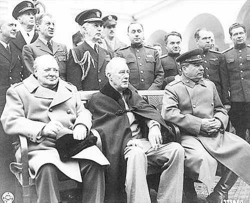 Winston Churchill, Franklin Roosevelt, Joseph Stalin and Crowd of Military Officers