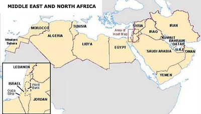 Map of Middle East and North Africa with Inset Map of Holy Land