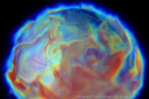 Globe Graphic Simulating Climate Shifts