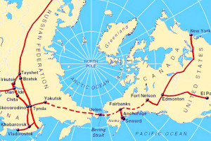 Map of North Polar Region with Real or Hypothetical Rail Lines Across Eurasia, Bering Strait, North America