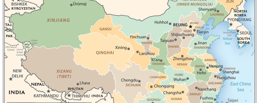 Map of China and Environs, adapted from archived cia.gov image