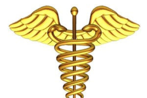 Medical Symbol with Pole, Serpents, Wings, adapted from image at lanl.gov