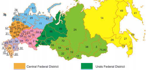 Russia Regions Map