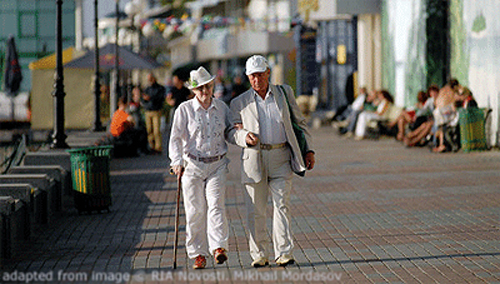 File Photo of Elders Walking in Russia