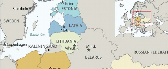 Map of Baltics and Environs, Including Kaliningrad