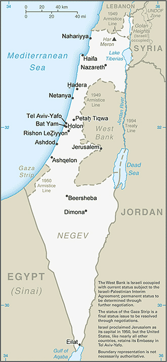 Map of Israel, Palestine, Holy Land