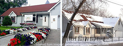 American Home in Vladimir, shown in summer and winter; Adapted from Image © Serendipity-Russia American Home