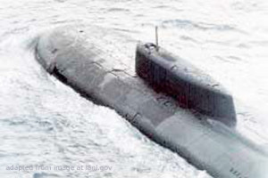 Kursk Submarine File Photo, adapted from image at lanl.gov