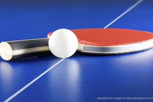 Ping Pong Ball and Paddle on Table
