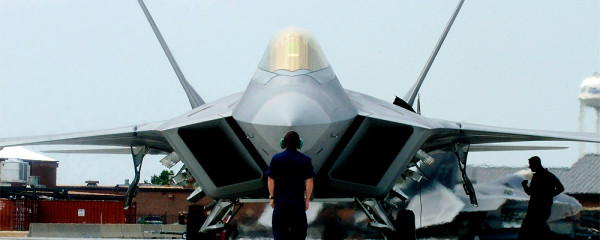 File Photo of F-22 Fighter and Ground Crew