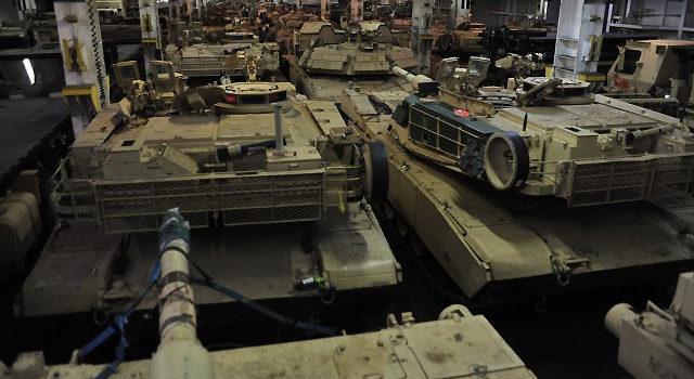U.S. Army Tanks in Transport Arriving in Germany, adapted from army.mil