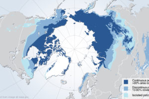 Map of Arctic Highlighting Permafrost, adapted from image at nasa.gov