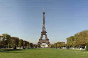 Eiffel Tower and Tree-Lined Grassy Green, adapted from image at lbl.gov