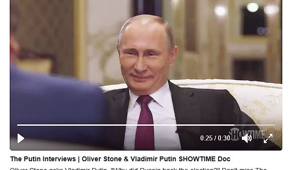 File Photo of Screenshot of Vladimir Putin in Twitter Video of Trailer of Oliver Stone TV Film Regarding Russia